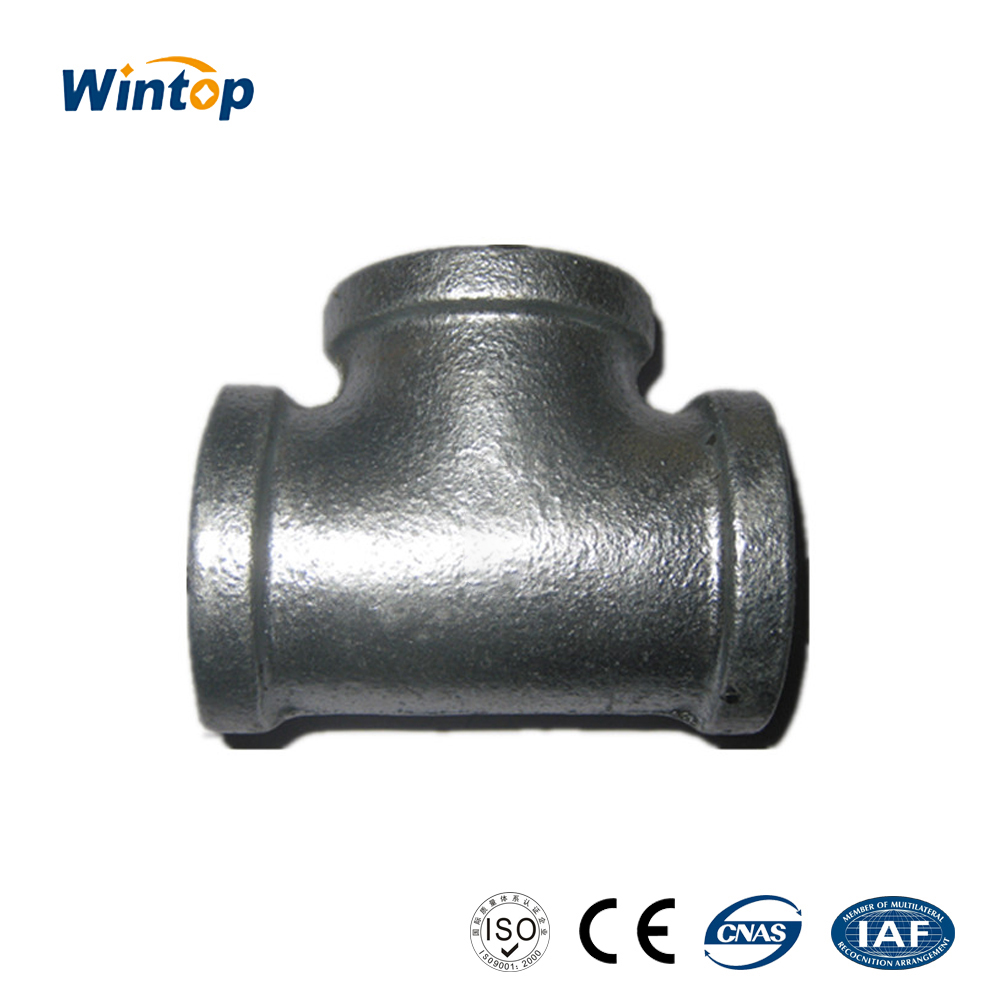 malleable iron pipe fitting banded hot dipped galvanized Equal diameter Pipe tee
