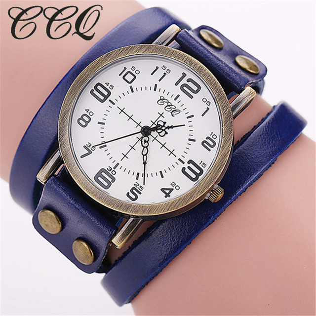 CCQ Brand Vintage Cow Leather Bracelet WristWatch Luxury Casual Women Quartz Watch Relogio Feminino 1347