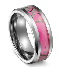New Arrival 8MM Tungsten Carbide Women' & Men's Hunting Camouflage Tungsten Wedding Band Pink Camo Wedding Ring