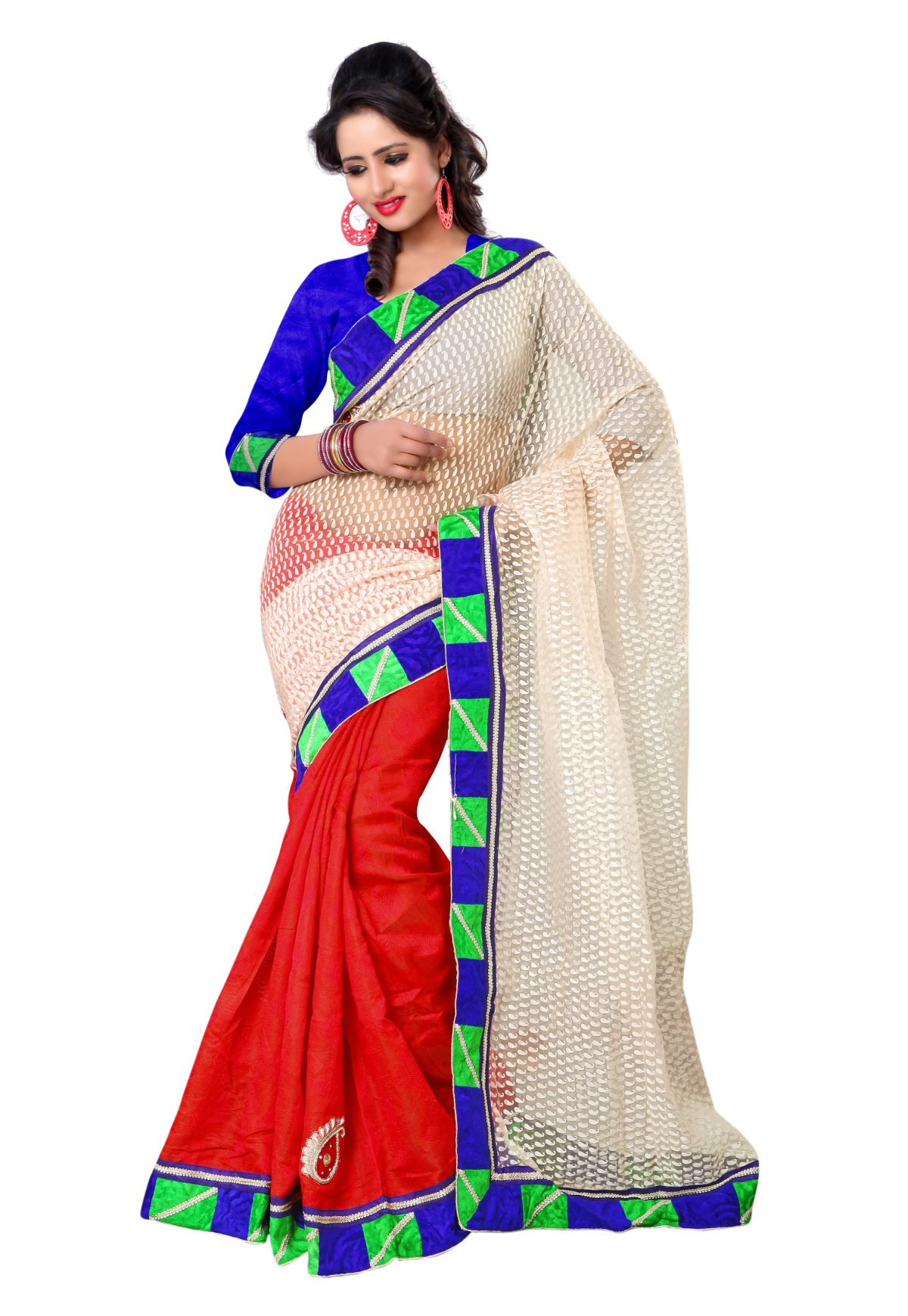 Triveni Adorable Border Worked Red Tissue,Brasso,Chanderi Saree 612A