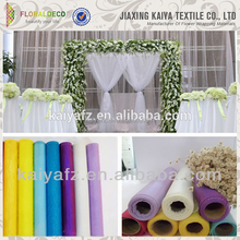 Polyester colorful wedding decor soft organza shimmer tulle roll