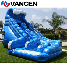 VANCEN 2017 summer PVC backyard Dual Lane blue monster wave inflatable action air water slide for sale or party rental business