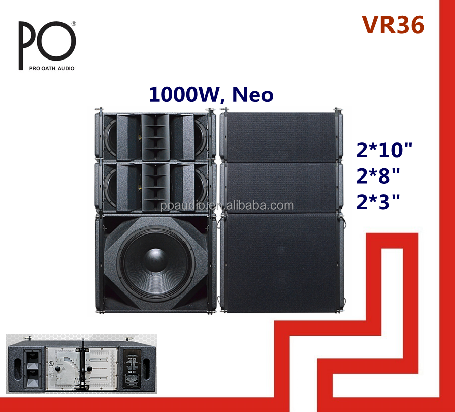 po audio dual 10 inch 3 way vera36 line array speaker