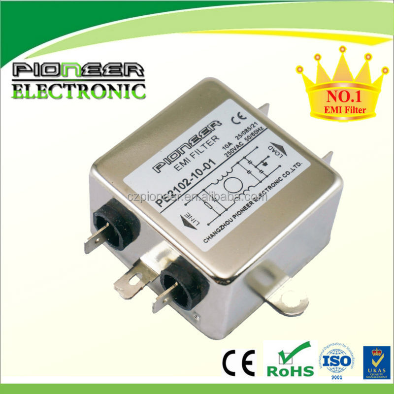 PE2102-10-01 10A 120/250VAC easy and fast chassis mounting electromagnetic interference AC electric filter