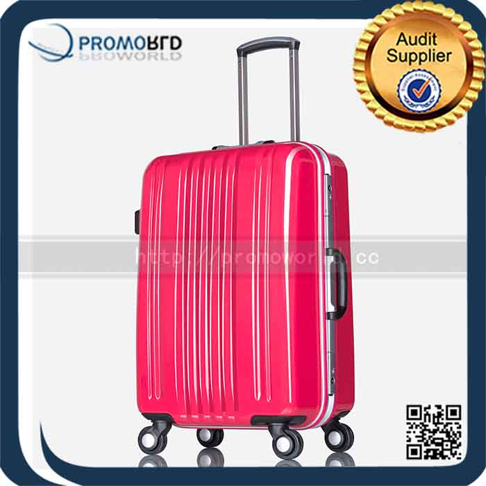 Newest High Quality light red trolley luggage/travel case