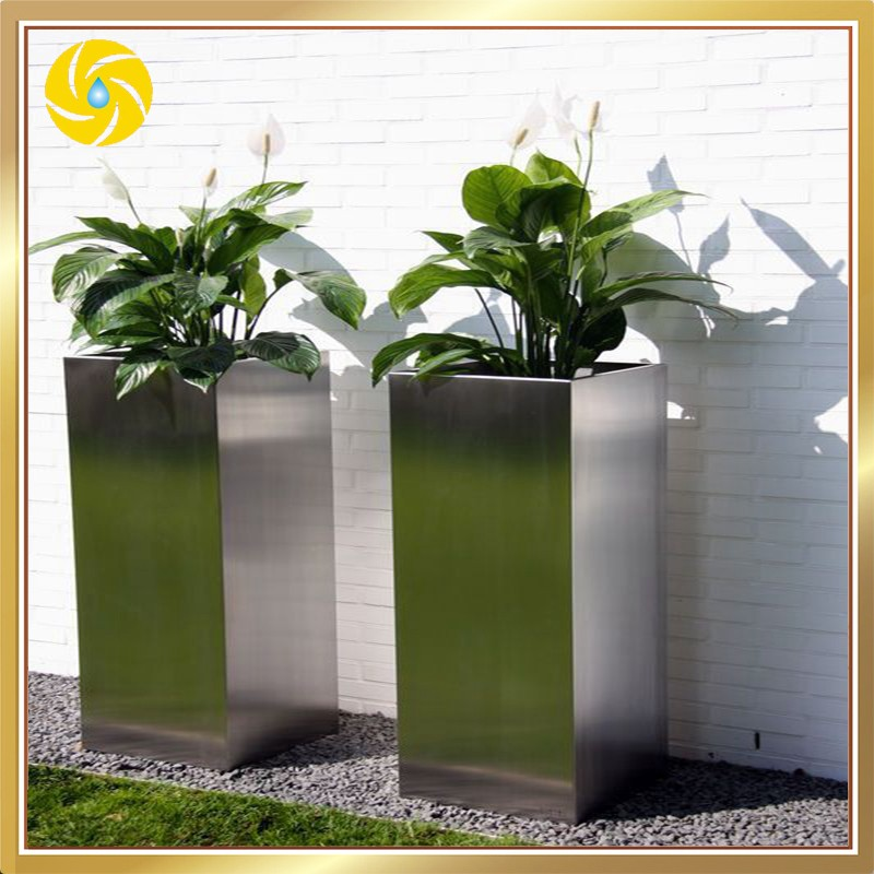 Large Tall Stainless Steel Decorative Planters Outdoor