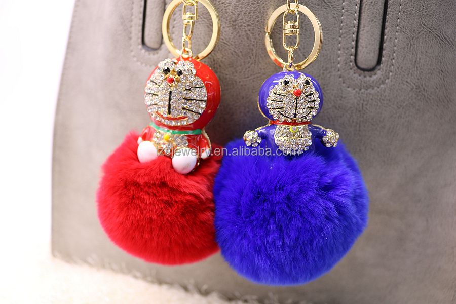 3D Cartoon Design Pom Pom Keychain Alloy Animal Keychain