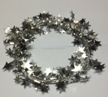 Foil PVC Christmas Gift Wrapping Wired Star Tinsel garland