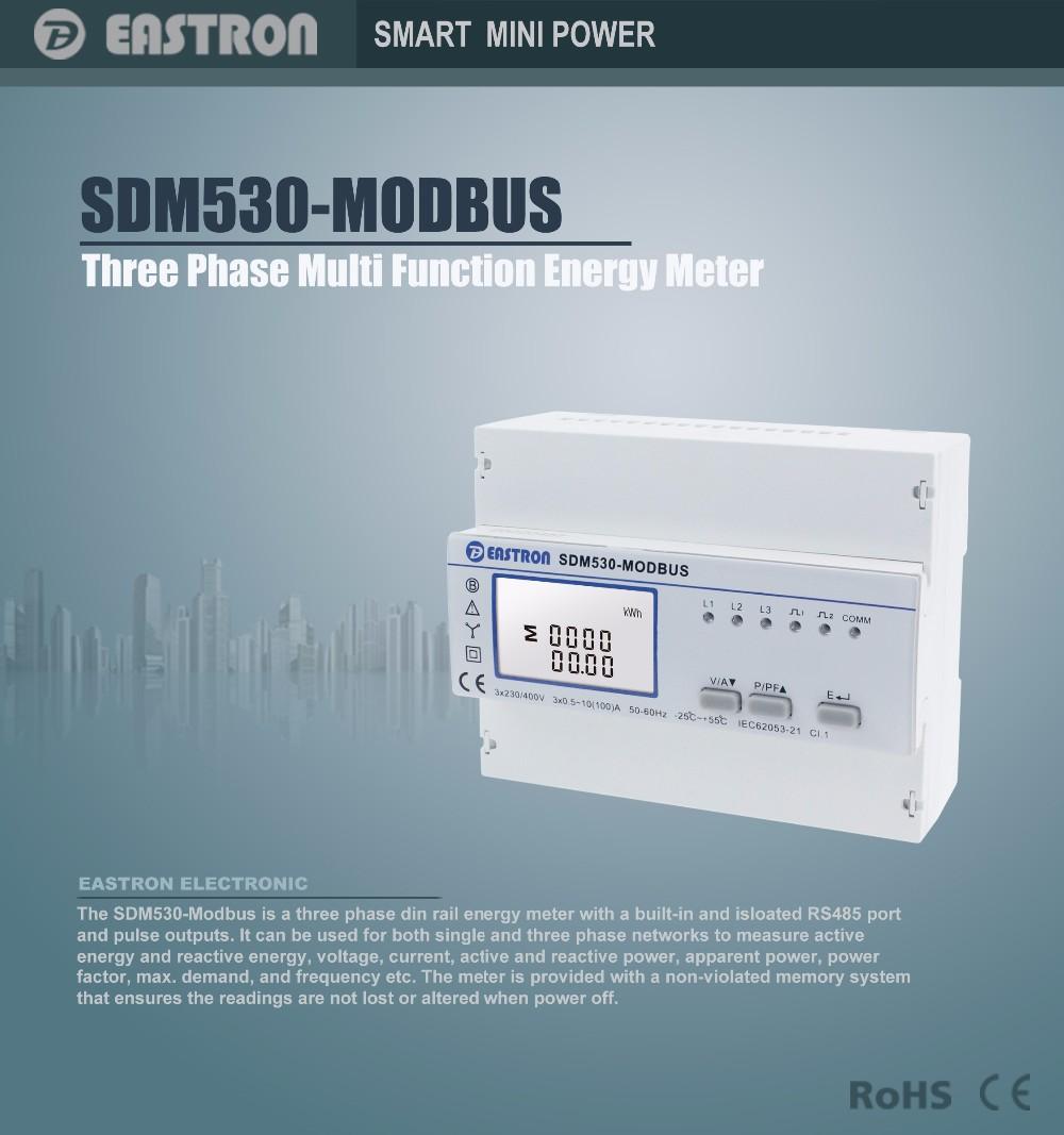 SDM530Modbus, Three phase four wire energy meter, with RS485 Modbus ...