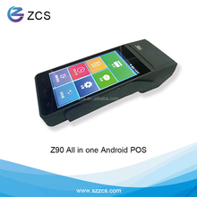 wireless handheld rfid billing payment machine, touch screen android pos terminal with thermal receipt printer gprs