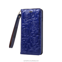 CellPhone Case Strong Magnetic Shining Pattern Leather Book Case for iPhone 6/6s 4.7inch with hand strap