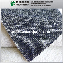 XLZ427 Wholesale custom best selling twill melange tweed euro style fannel woolen fabric bonded with lambs wool fabric