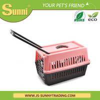 Air pet carrier with wheels plastic pet cages for dog