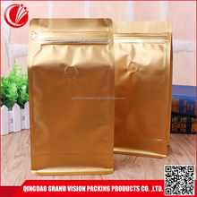 Side gusseted stand up black zip lock flat bottom ldpe bag with print valve