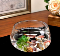 clear round glass flower vase fish bowl tank