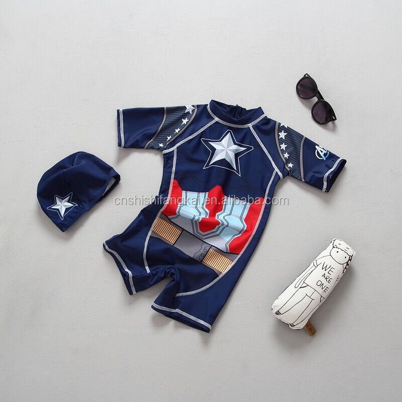 American Captain kids children swimwear swimsuit bathing suit beach wear party cosplay wear swim set stock swimwear