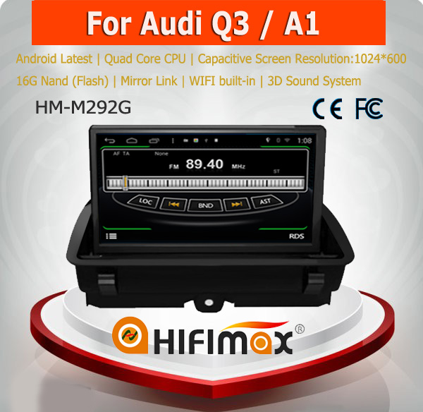 HIFIMAX Android 4.4.4 car dvd gps navigation for Audi Q3/A1 WITH Capacitive screen 1080P 16G ROM WIFI 3G INTERNET