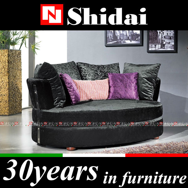 532 Italian design comfortable modern black fabric round big sofa chair with pillow
