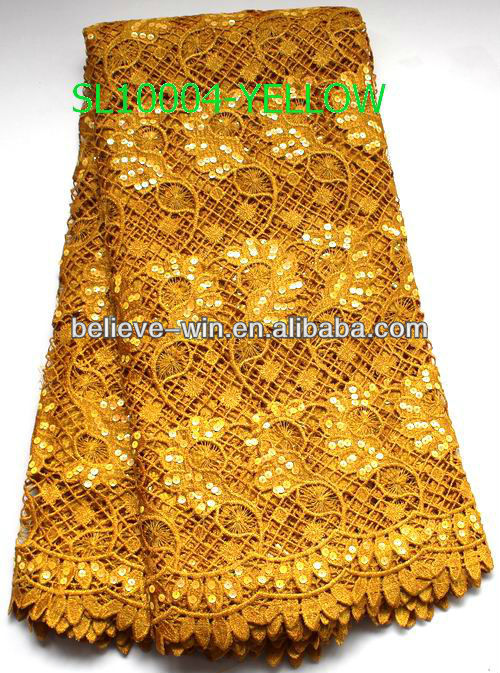 2013 fashion watersoluble embroidery spangles fabric lace yellow