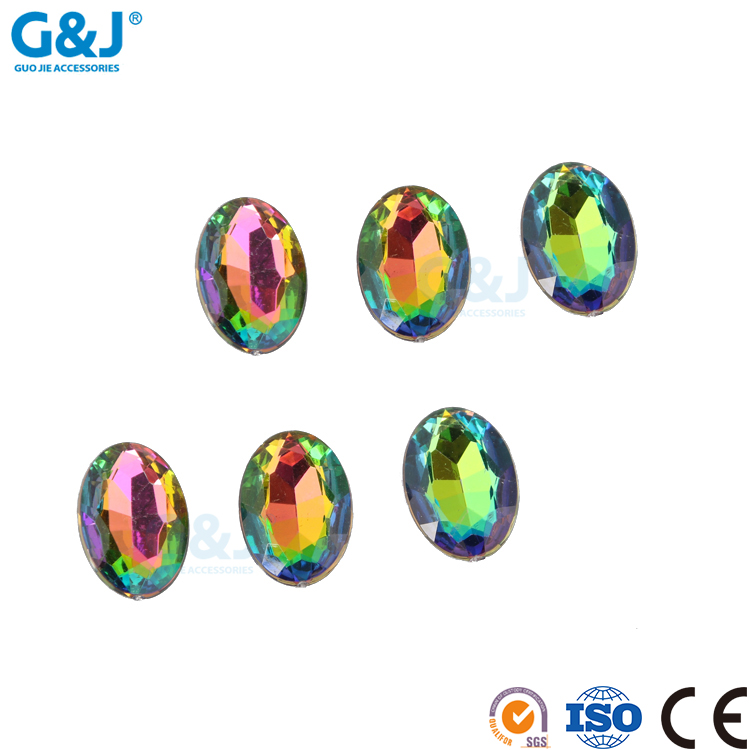 guojie brand yiwu oval shape colorful factory production garment accessories acrylic stone