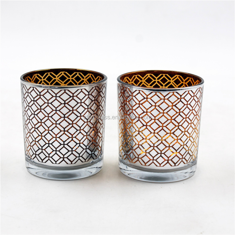 plating carving color Geometric pattern glass candle holder tealight cup