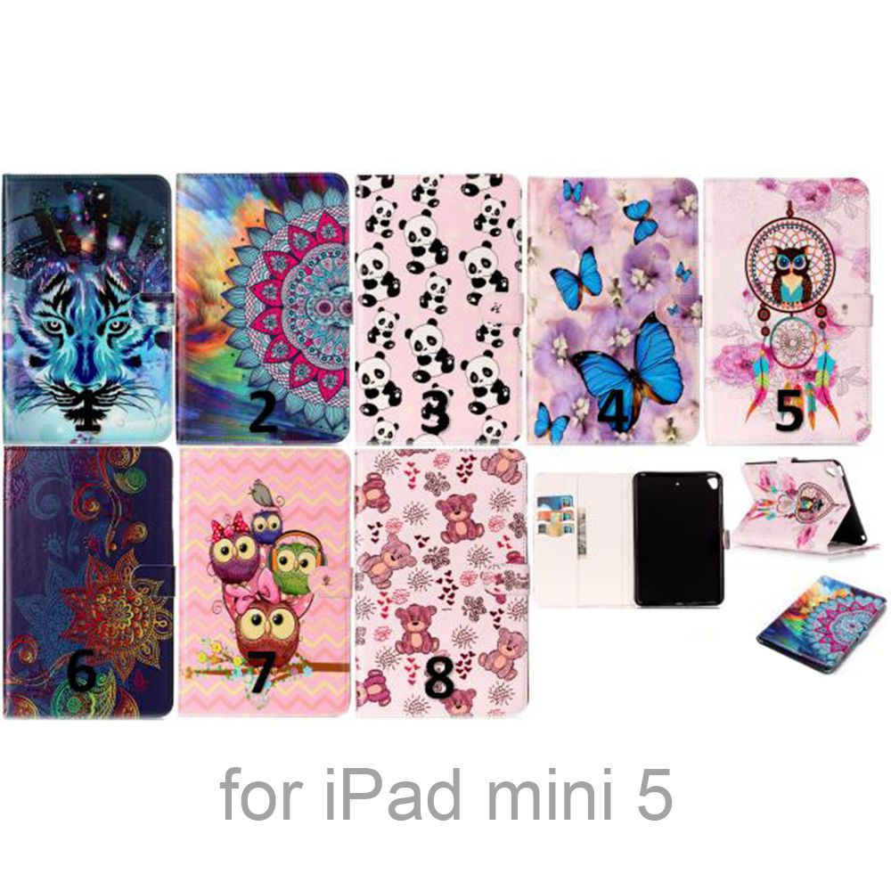 Colored Painting Wallet Stand Support Card Holder Slots PU Leather + TPU Back Cover Case for iPad Mini 5