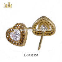 Latest design saudi gold jewelry cute hearts shape 12k gold brass earring rubber backs
