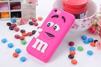 Lovely 3D cartoon cute M&M Silicon Chocolate jelly Bean Case for iphone 5C,100pcs.lot