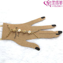 Hand Chains India New Fashion Finger Ring Hand Chain Jewelry Metal Hand Chain Bracelets HC-627A15