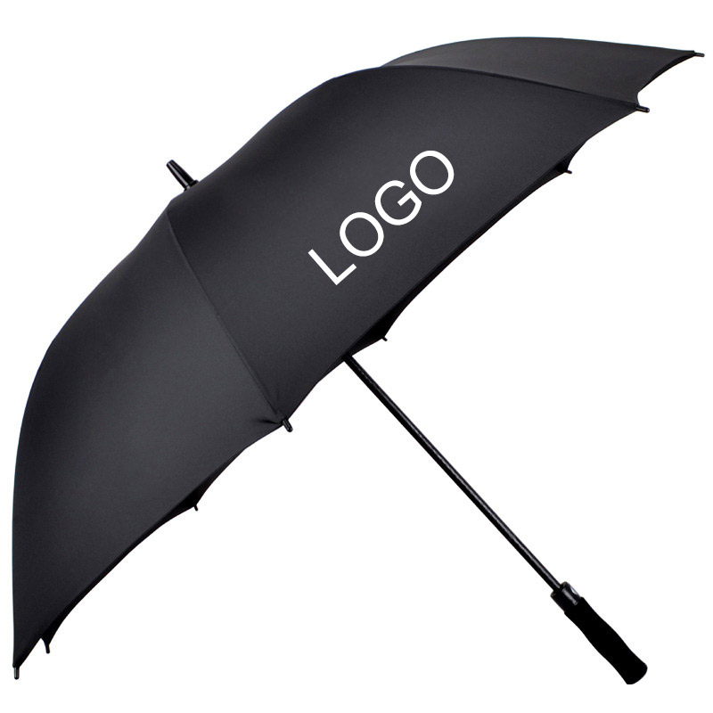 30inch Oversize Long Shaft Windproof Black Golf Umbrella with Logo Printing