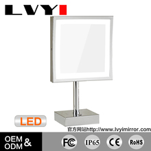 8.5 inch Square LED Lighted Tabletop Makeup Mirrors with 3x Magnification Chrome LY-2205D(8.5in,3x)