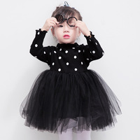 spring autumn children dresses baby girl long sleeved polka dot princess party dress