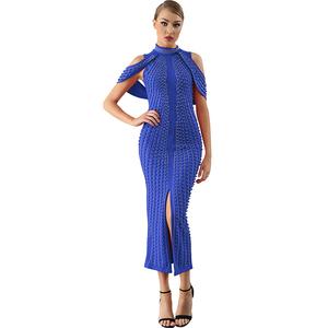 Celebrity Evening Party Dress 2018 Woman Black White Sleeveless Beaded Dress  Turtleneck Sexy Back Splitting Dress d9c3d1535b25