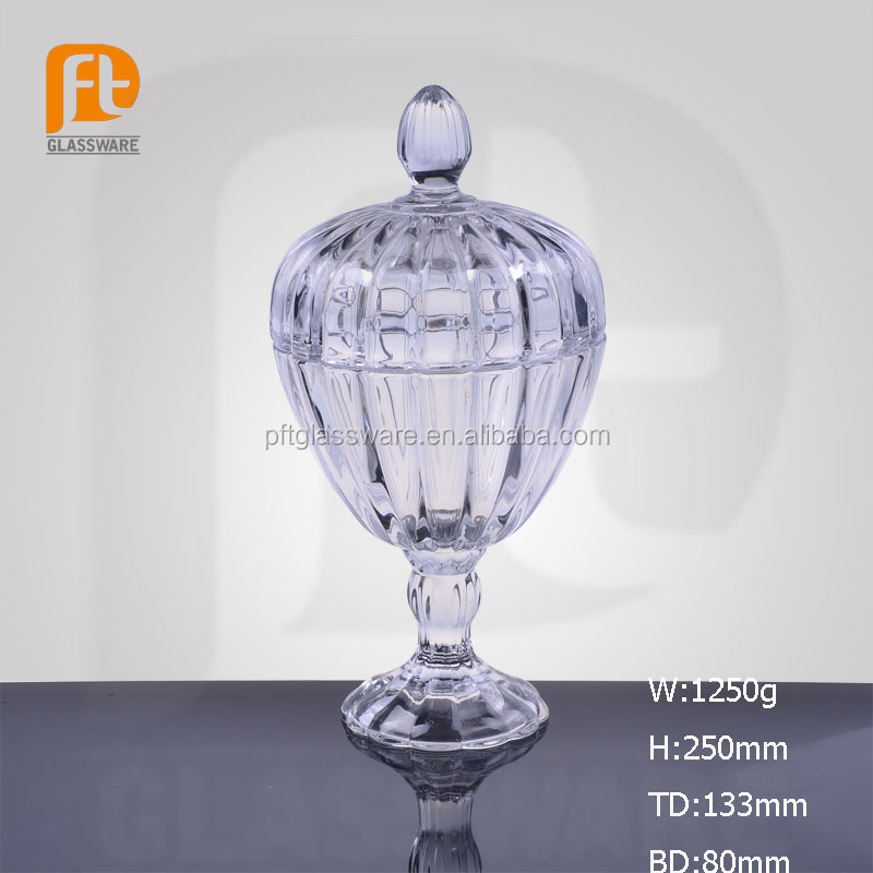 Fancy table decorative cheap clear crystal decorative bowls / glass sugar bowl with lid