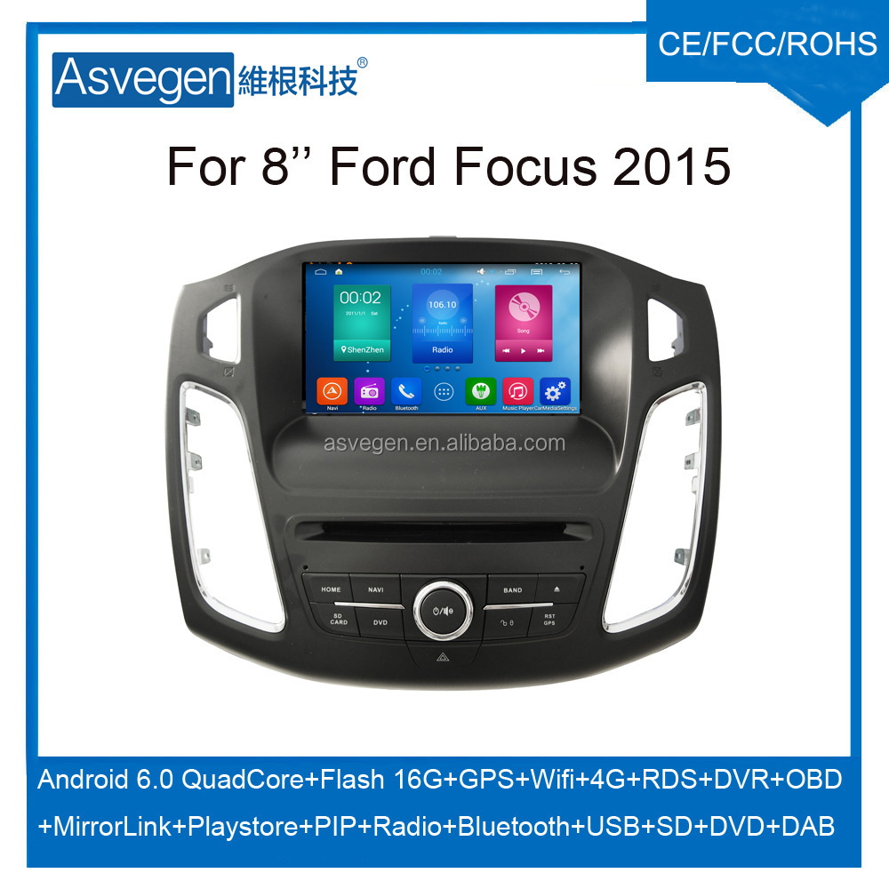 Wholesale Android Car DVD Player 8'' For Ford Focus 2015 Navigation Car DVD GPS Support Playstore,4G,WIFI