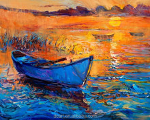 Hotel decor wall artwork painting original works blue boat on sea oil canvas painting