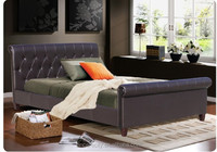 Modern Bedroom Furniture ,Pu Pvc Faux leather Upholstered Sleigh Bed