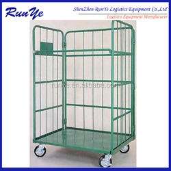 Metal wire laundry storage handling foldable roll trolley