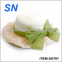 latest fashion lady straw hat with bowknot