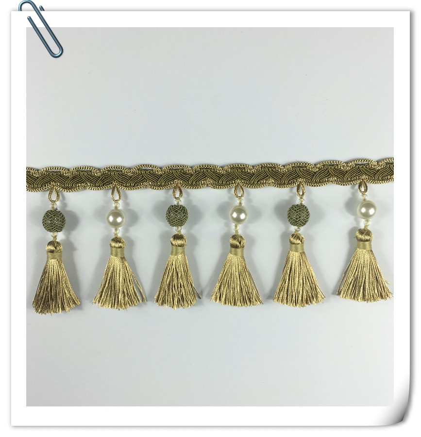 Factory direct sales high quality red colour polyester curtain tassel fringe