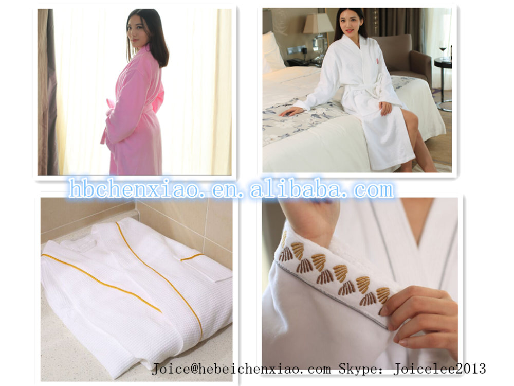 100% Cotton Velvet Women Bath Robe with Hood