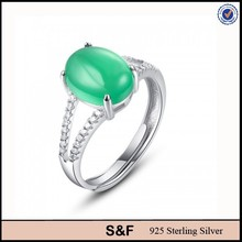 Green cut diamond jewelry 925 sterling silver jade jewelry, 925 silver jade ring