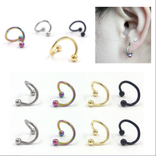PVD anodized surgical steel belly navel spiral twister open ring wholesale