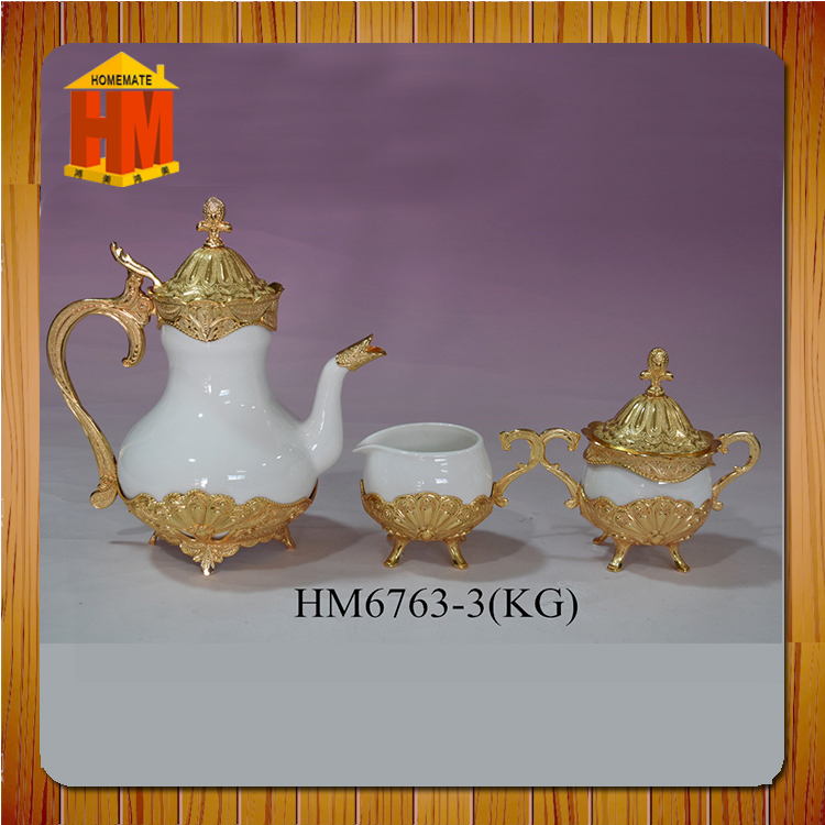 Hot sale ceramic tea and coffee set with tea pot set, sugar pot and milk jar
