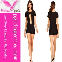 Ladies Short Sleeve Bodycon Jumpsuit Romper Trousers Hollow Out Clubwear