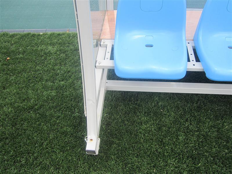 Portable dugout team player shelter for soccer pitch