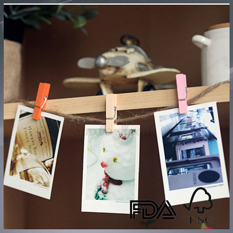 small mini colored wooden picture hanging peg