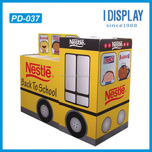pop up school bus shaped cardboard display for stationery tools