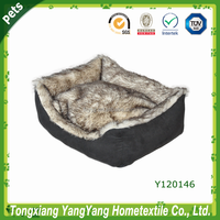 High quality cozy faux fur dog square beds