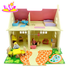 Newest fashion wooden toy doll house for kids,diy wooden doll house for children,cheap mini doll house for baby W06A097